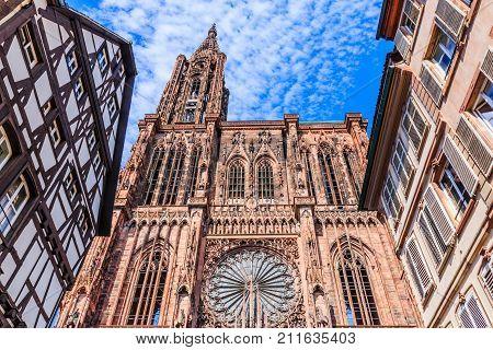 Strasbourg France. Cathedral Notre Dame of Strasbourg.