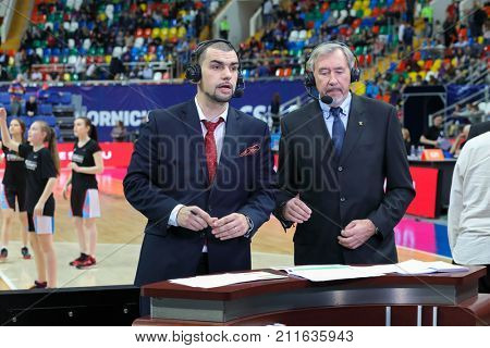 MOSCOW - APR 7, 2017: Commentators at basketball game Euroleague CSKA Moscow (Russia) - Olympiakos (Greece) in Megasport stadium