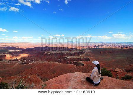 hiker enjoying scenic view