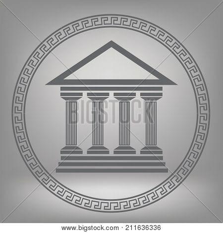 colorful illustration with Greek temple on a gray background