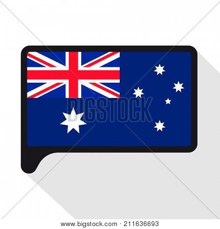 Speech Bubble flag of Australia. The symbol of Independence Day, a souvenir, a button language, an icon.
