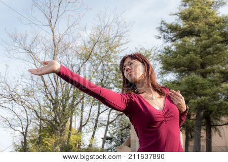 Woman Performs Qi Gong Image & Photo (Free Trial) | Bigstock