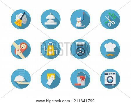 Symbols of housework. Washing and cleaning, cooking and gardening. Domestic staff concept. Collection of stylish blue round flat color vector icons.