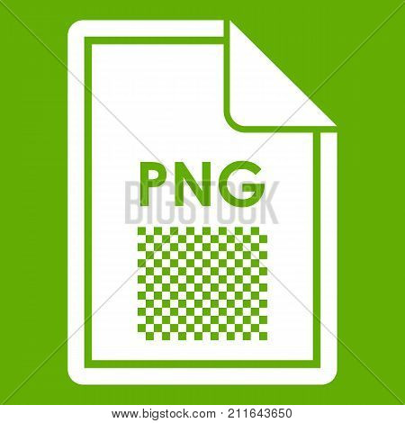 File PNG icon white isolated on green background. Vector illustration