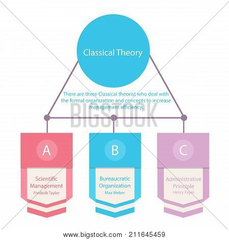 Simple colorful chart for clasical organization theory administrative and scientific vector