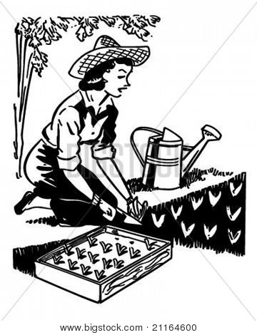 Woman Planting Garden - Retro Clipart Illustration