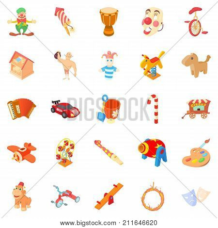 Wooden toy icons set. Cartoon set of 25 wooden toy vector icons for web isolated on white background