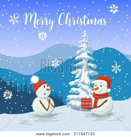 Friendly Snowmen in a santa hat. Smiling Frosty with a gift box. Snowwoman. View of of Winter landscape with silhouette of mountains and forest. Sky, snow, drift, flurry, fir, snowflakes, red scarf