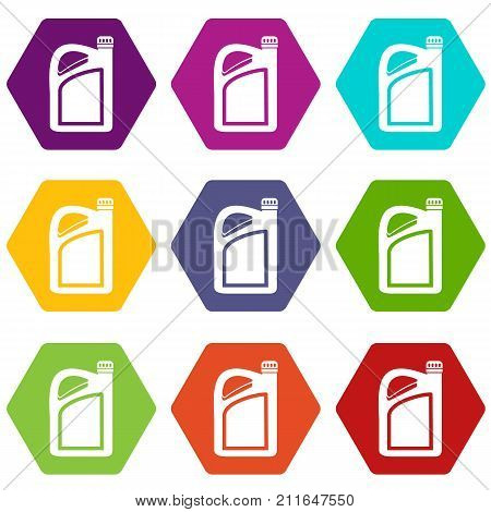 Jerrycan icon set many color hexahedron isolated on white vector illustration