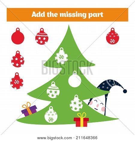 Puzzle game. Visual Educational Game for children. Task: find the missing parts. Worksheet for preschool kids. Vector illustration