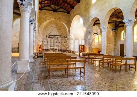 GALILEE, ISRAEL - JUNE 24: Interior of the Church of the Multiplication of the Loaves and Fish or The Church of the Multiplication in Tabgha on the shore of the Sea of Galilee in Israel on June 24, 2017