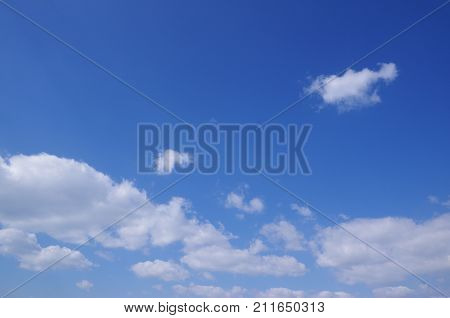 Huge and beautiful blue sky is spread out.