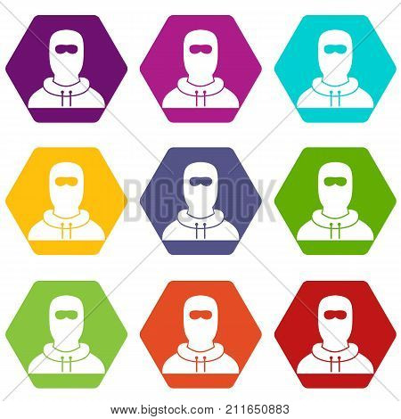 Man in balaclava icon set many color hexahedron isolated on white vector illustration