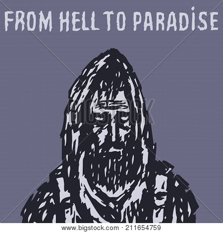 A man in a hood with a backpack behind him travels during the zombies of the apocalypse. Vector illustration. From hell to paradise. The horror genre.