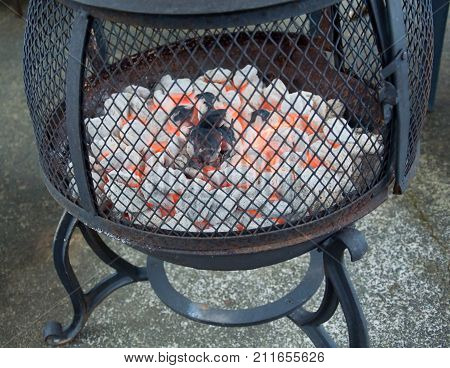 This is a black iron fire pit with red hot burning brickquettes going.