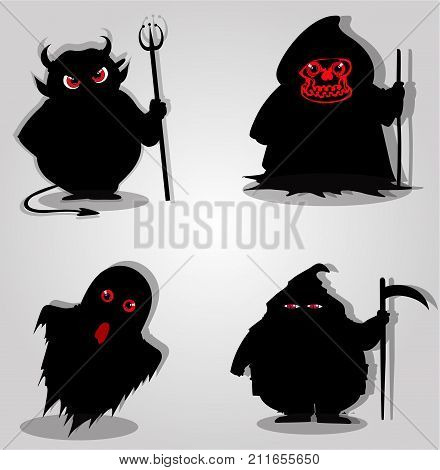 Set of halloween characters. Vector illustration icons clip art.