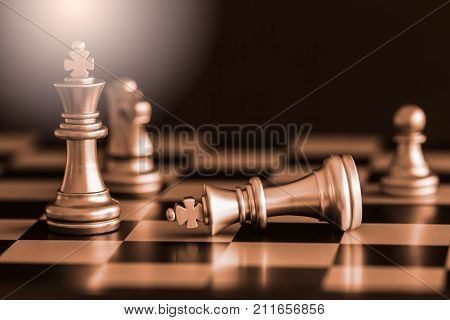 Strategy Chess Battle Intelligence Challenge Game On Chessboard. Success The Strategy Concept. Chess