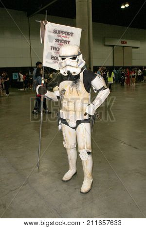 An unidentified Star Wars Storm Trooper cosplyer attends the annual Stan Lee's Los Angeles Comic Con 2017 Expo at the Los Angeles Convention Center on Oct. 28, 2017.
