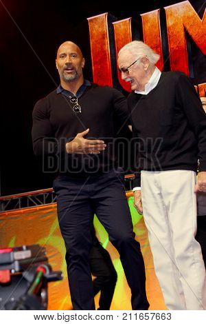 Dwayne Johnson and Stan Lee attend the annual Stan Lee's Los Angeles Comic Con 2017 Expo at the Los Angeles Convention Center on Oct. 28, 2017.
