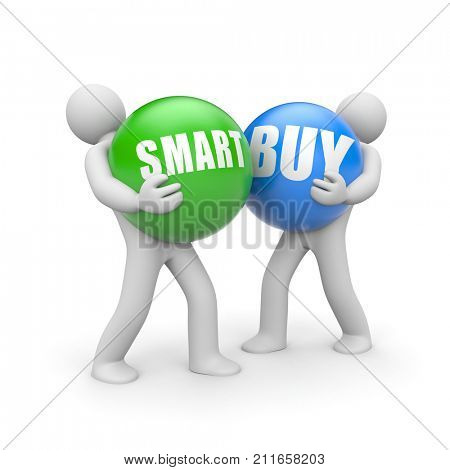 People with SMART BUY words balls. 3d illustration