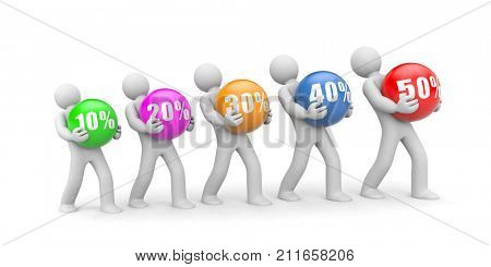 People with discount on the colored balls. 3d illustration