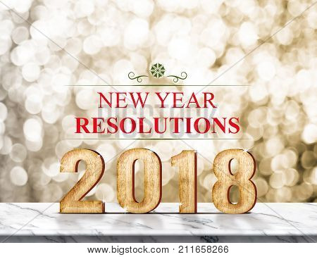 New Year Resolution 2018 (3D Rendering) On Marble Table At Gold Sparkle Bokeh Abstract Background,ho