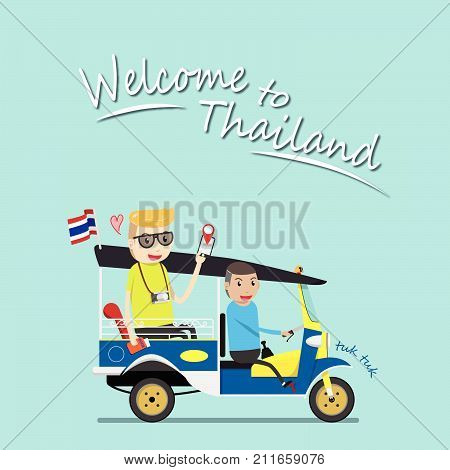 foreign tourist take tuk tuk for sightseeing attraction around Bangkok, Thailand. tuk tuk is a local taxi vehicle with three wheels. ride tuk tuk is most popular activity for tourist in Bangkok.