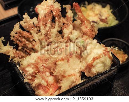 Tendon or Tempura (Shrimp, Seafood) on rice ,Japanese cuisine, Selective focus