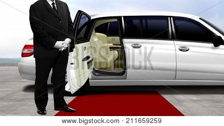 Chauffeur waiting for passenger at the airport runway