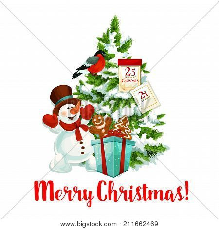Merry Christmas icon of snowman and Santa gifts under Christmas tree for winter season wish or holiday greeting card design. Vector New Year decoration wreath, 25 December calendar and bullfinch