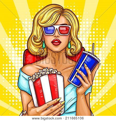 pop art illustration of a beautiful blond woman sitting in the auditorium and watching a 3D movie. A girl in 3D glasses sits in a red armchair and holds a container with pop corn and soda