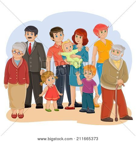 illustration of a happy family of nine people - great-grandfather, great-grandmother, grandfather, grandmother, dad, mom, daughter, son and baby - posing together