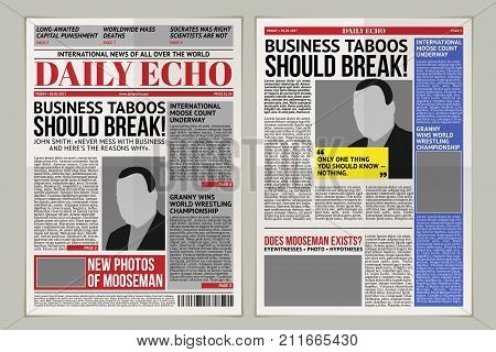 illustration of a daily newspaper template, tabloid, layout posting reportage