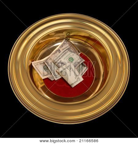 Church offering plate with some currency in it