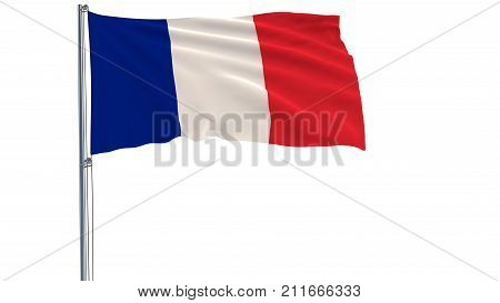 Isolate flag of France on a flagpole fluttering in the wind on a white background 3d rendering PNG format with ALPHA transparency