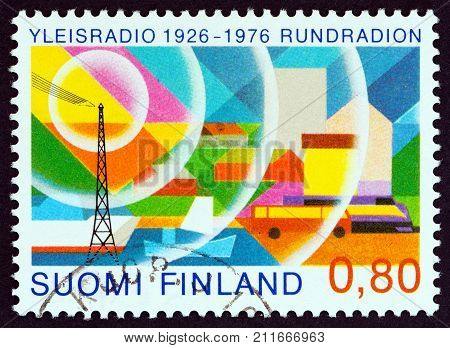 FINLAND - CIRCA 1976: A stamp printed in Finland issued for the 50th anniversary of Radio Broadcasting in Finland shows Radio Broadcasting, circa 1976.