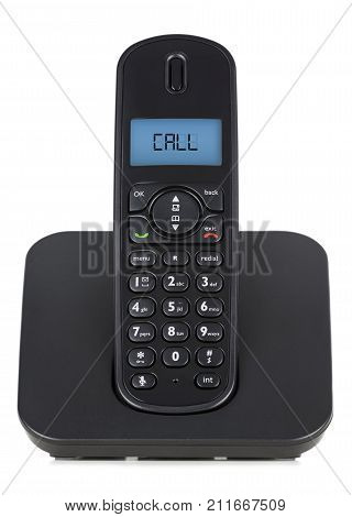 Black Cordless Phone. Call Message On The Screen
