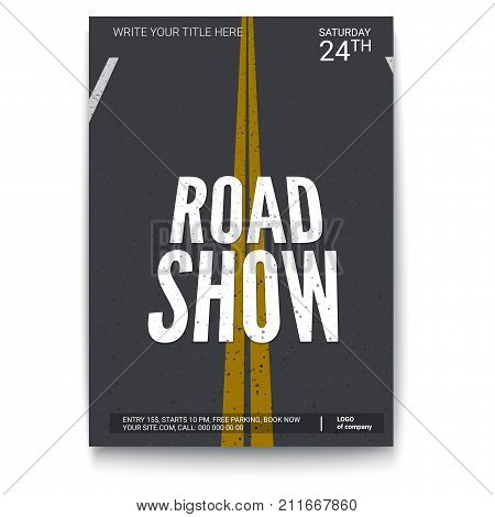 Poster design for fury road show, isolated on white backdrop. Vector template of poster, design layout for brochure, banner, flyer. Mock-up of event with text template, A4 size poster