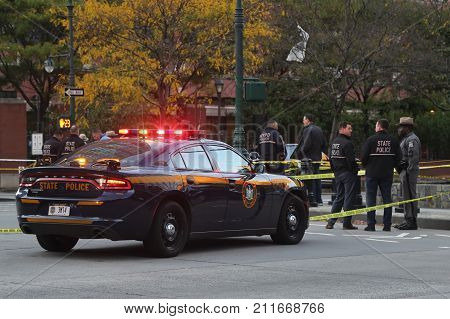 NEW YORK - OCTOBER 31, 2017: New York State Police Troopers are at the crime scene near a terror attack site in lower Manhattan in New York.