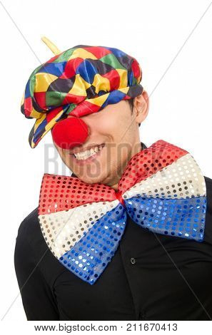 Sad clown isolated on the white