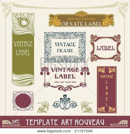 set vectors art nouveau