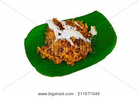 Brown Rice Sweet With Coconut On White Background