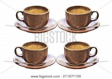 Coffee Cup With Froth Isolate On White Background
