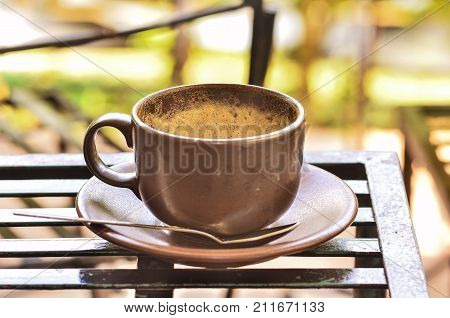 Coffee Cup With Froth After Drink On Table