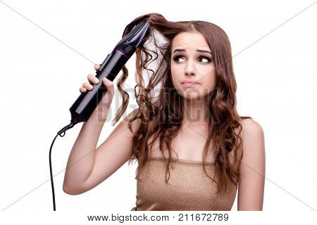 Beautiful woman getting her hair done with hair dryer isolated o poster