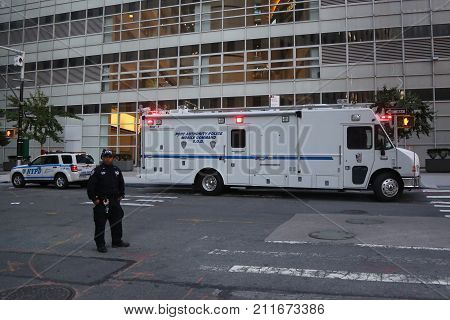 NEW YORK - OCTOBER 31, 2017: Port Authority Police Mobile Command S.O.D. near terror attack crime scene in lower Manhattan in New York.