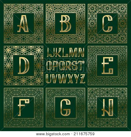 Patterned monogram kit. Golden letters and ornamental square frames for creating initial logo in vintage oriental style.