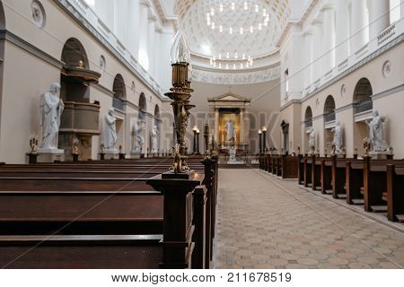 Copenhagen, Denmark - August 10, 2016. Interior view of the Church of Our Lady, the cathedral of Copenhagen. It is situated on Frue Plads and next to the main building of the University of Copenhagen.