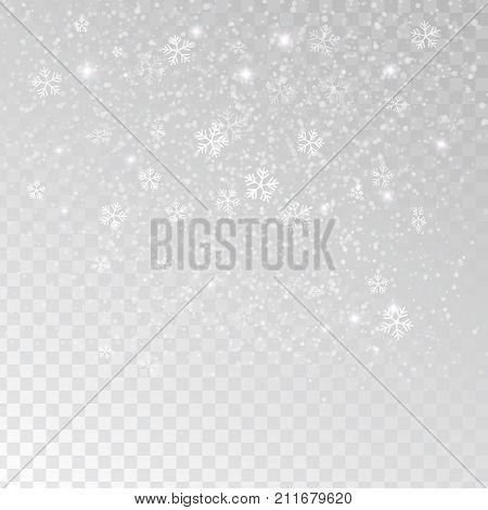 White tender snowflakes snow falling over transparent background vector illustration. Snow, snow flakes falling, vector. White snowflakes background. Snowflakes transparent effect.