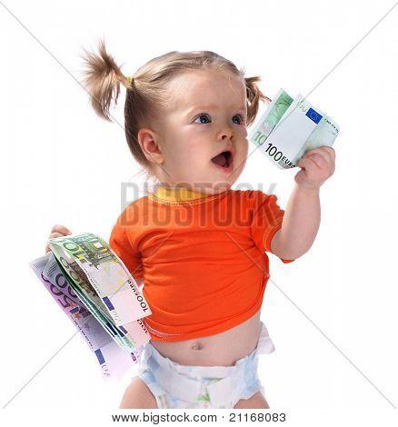 Baby taking euro.
